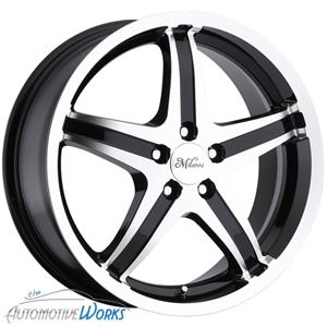 16x7 Milanni Kool Whip 5 5x115 40mm Black Machined Wheels Rims inch 16